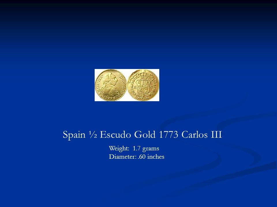 Spain ½ Escudo Gold 1773 Carlos III