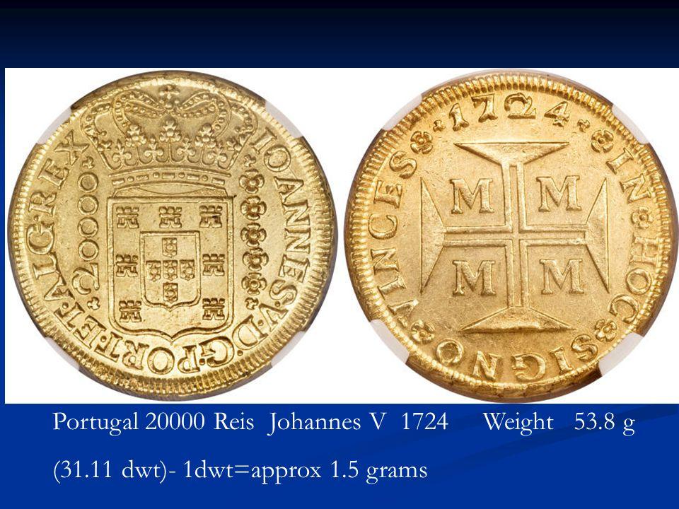 Portugal 20000 Reis Johannes V 1724 Weight 53.8 g