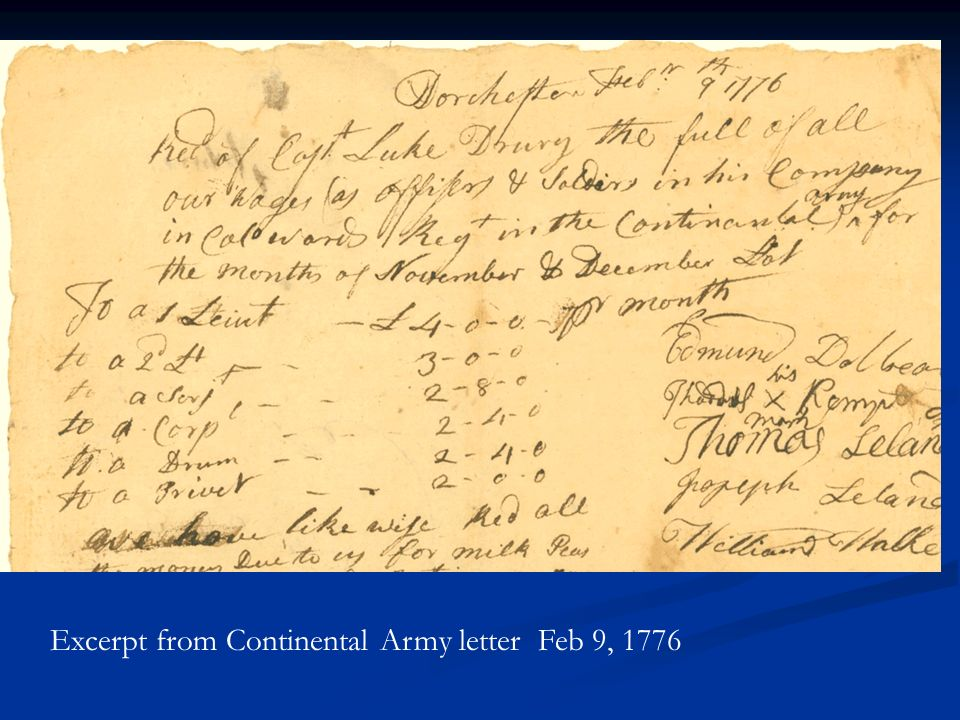 Excerpt from Continental Army letter Feb 9, 1776