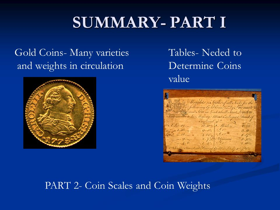 SUMMARY- PART I Gold Coins- Many varieties and weights in circulation