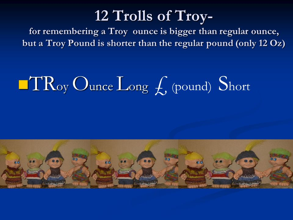 TRoy Ounce Long £ (pound) Short