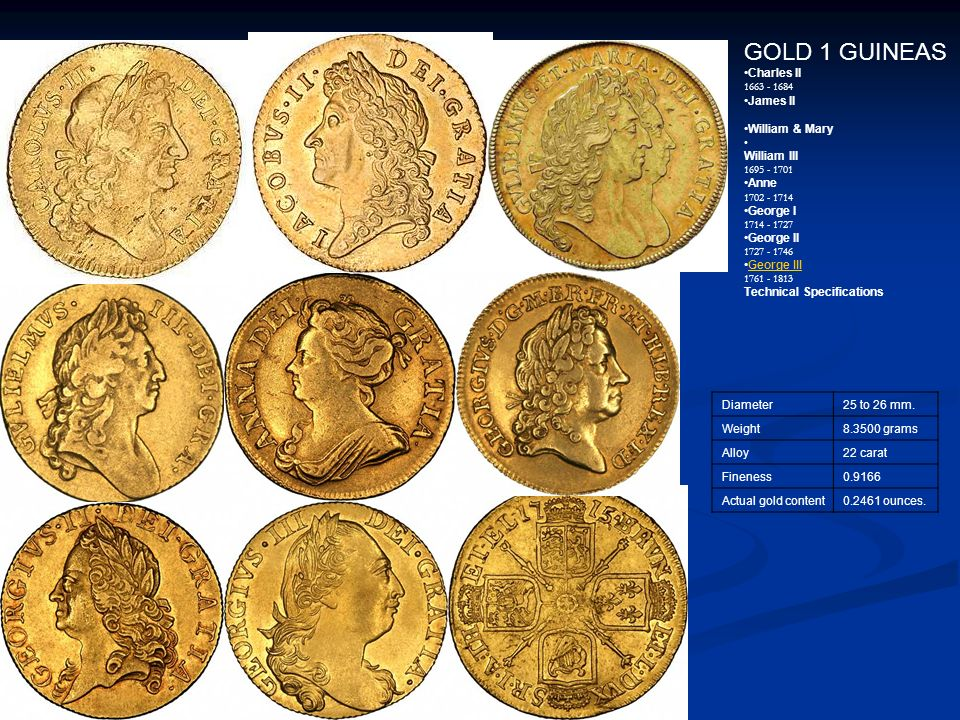 GOLD 1 GUINEAS Charles II 1663 - 1684 James II William & Mary