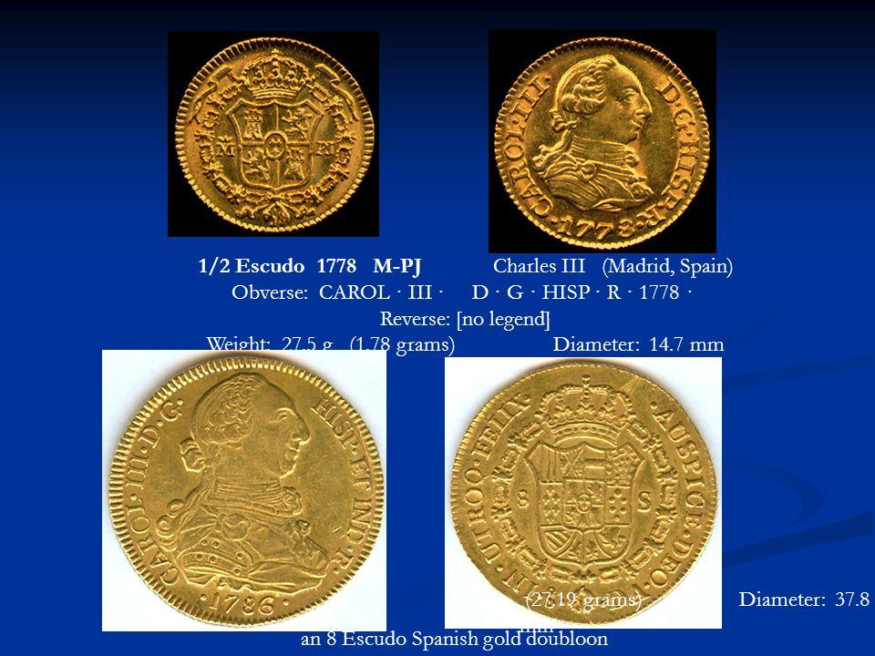 1/2 Escudo 1778 M-PJ Charles III (Madrid, Spain)