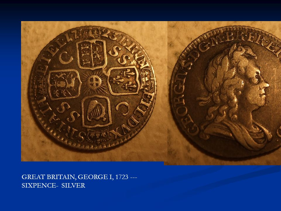 GREAT BRITAIN, GEORGE I, 1723 ---SIXPENCE- SILVER