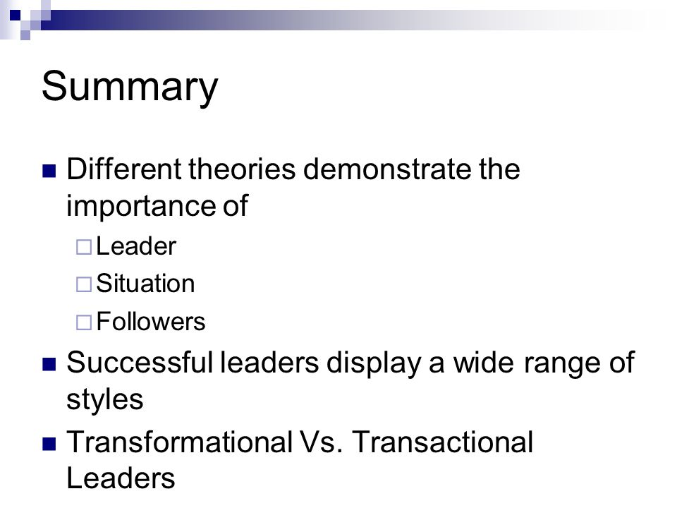 summary of leaders and followers The essence of transformational theories is that leaders transform their followers through their inspirational nature and charismatic personalities rules and .