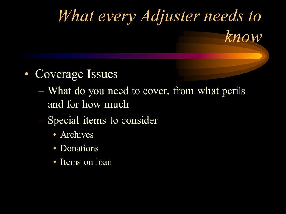What every Adjuster needs to know