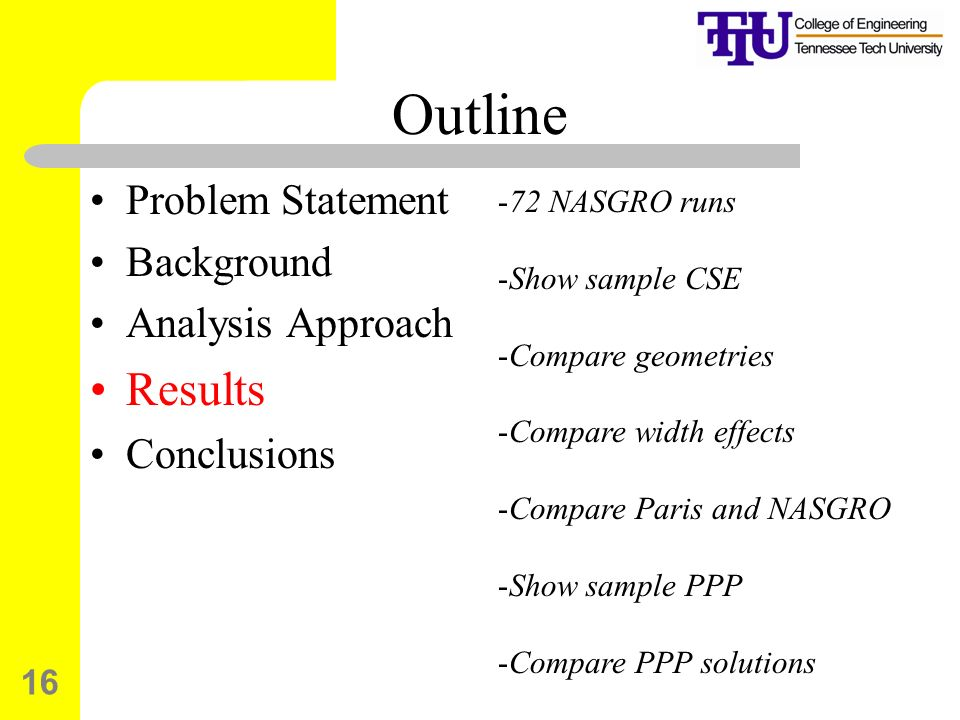 Outline Results Problem Statement Background Analysis Approach