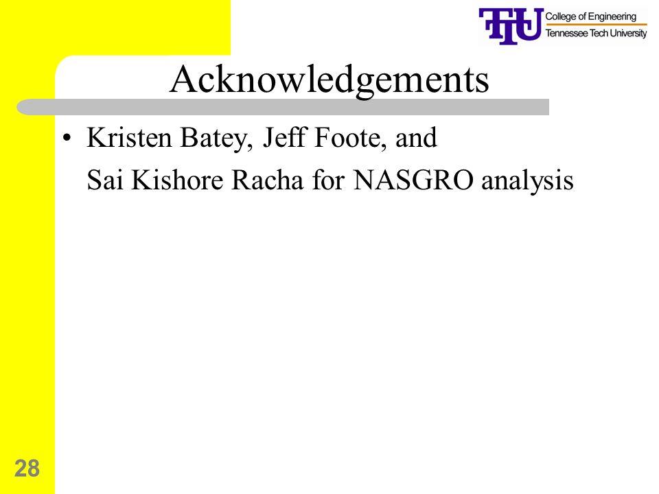 Acknowledgements Kristen Batey, Jeff Foote, and