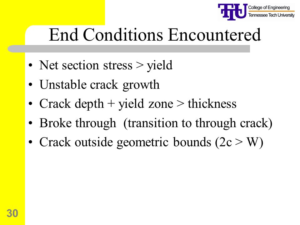 End Conditions Encountered