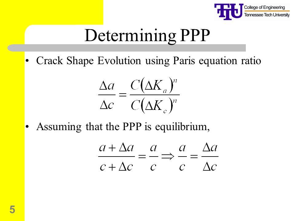 Determining PPP Crack Shape Evolution using Paris equation ratio