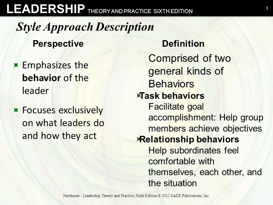 style approach In the investigation of the various characteristics and styles of leadership the emphasis of the style approach is the focus on the actions and behavioral characteristics of the leader.