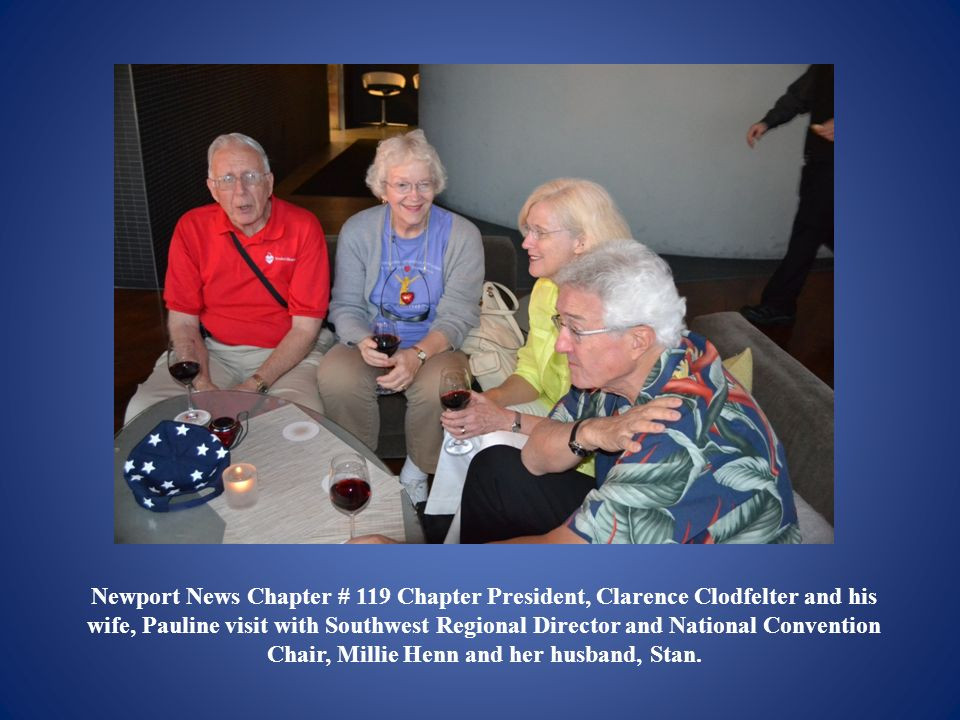 Newport News Chapter # 119 Chapter President, Clarence Clodfelter and his wife, Pauline visit with Southwest Regional Director and National Convention Chair, Millie Henn and her husband, Stan.