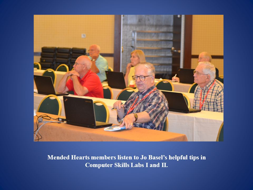 Mended Hearts members listen to Jo Basel's helpful tips in