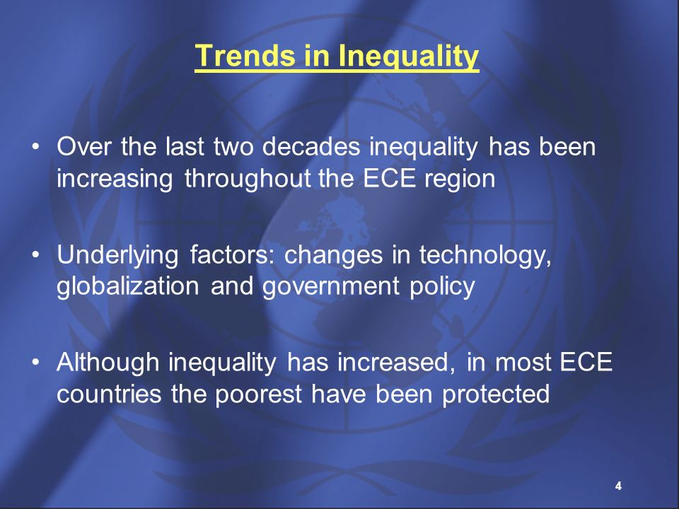 Trends in Inequality Over the last two decades inequality has been increasing throughout the ECE region.