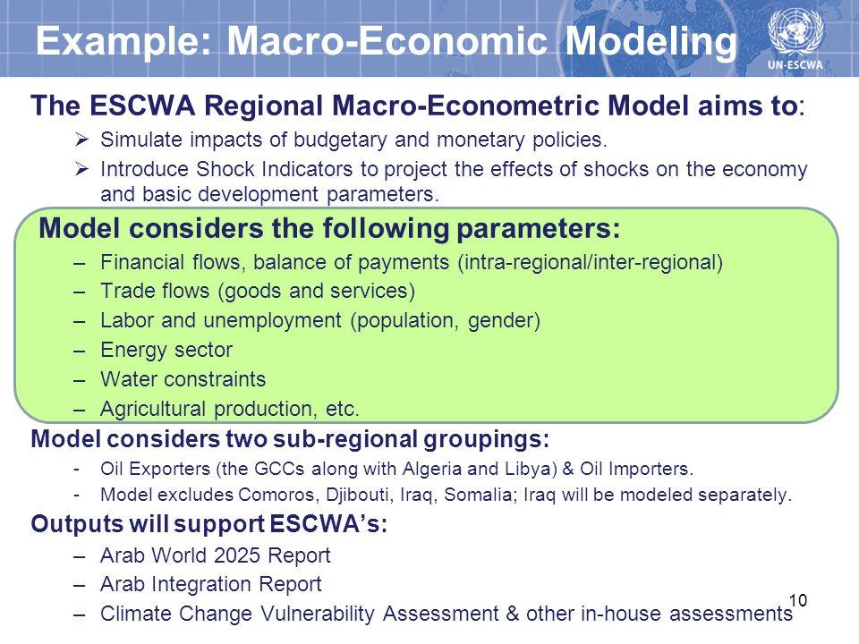 Example: Macro-Economic Modeling