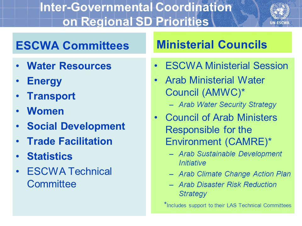Inter-Governmental Coordination on Regional SD Priorities