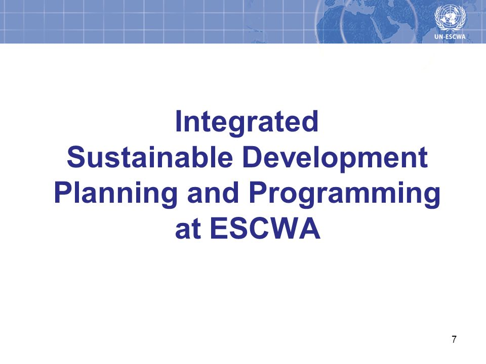Integrated Sustainable Development Planning and Programming at ESCWA