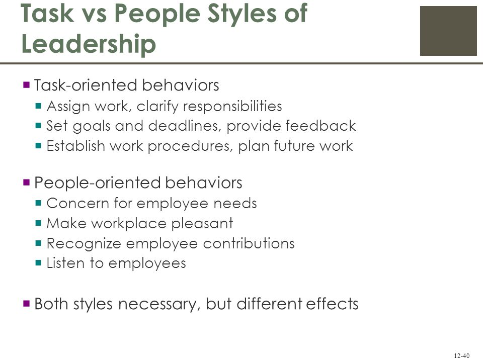 task oriented vs relationship oriented leader Task-oriented and relationship-oriented leadership are two models that are often compared, as they are known to produce varying outcomes under different circumstances.