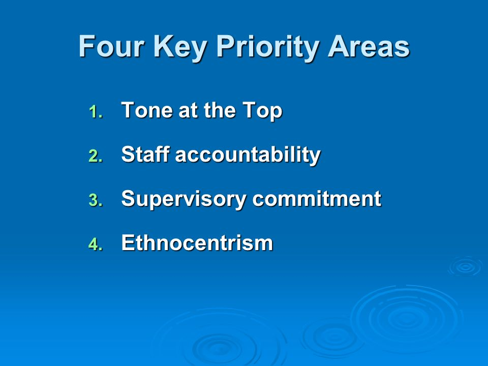 Four Key Priority Areas