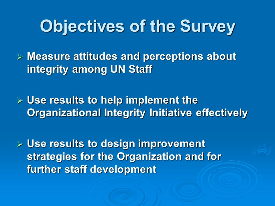 Objectives of the Survey