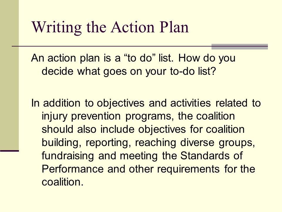 write a plan of action