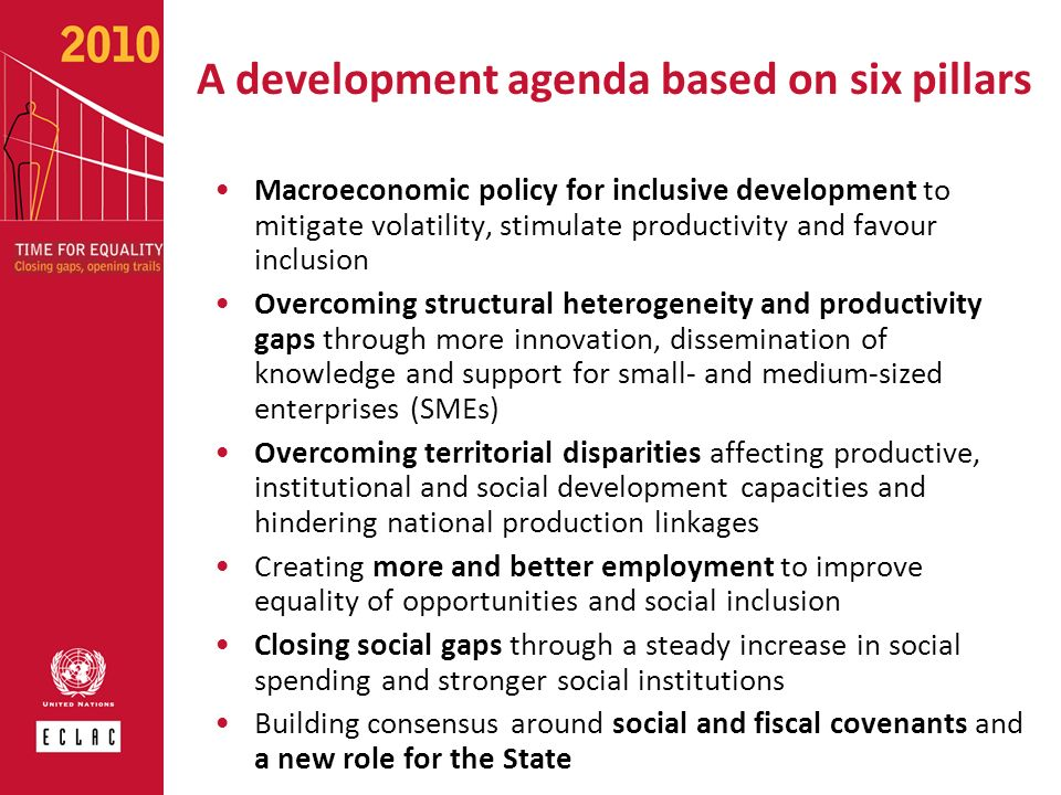 A development agenda based on six pillars