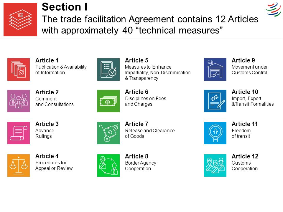Trade facilitation agreement it related implementation ppt video section i the trade facilitation agreement contains 12 articles with approximately 40 technical measures platinumwayz