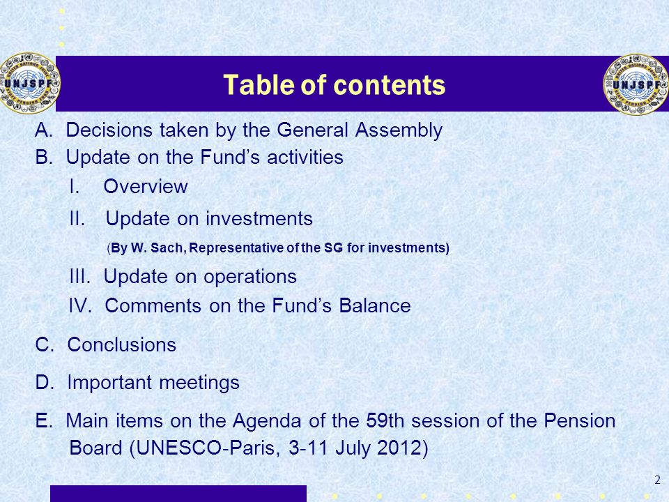 Table of contents A. Decisions taken by the General Assembly