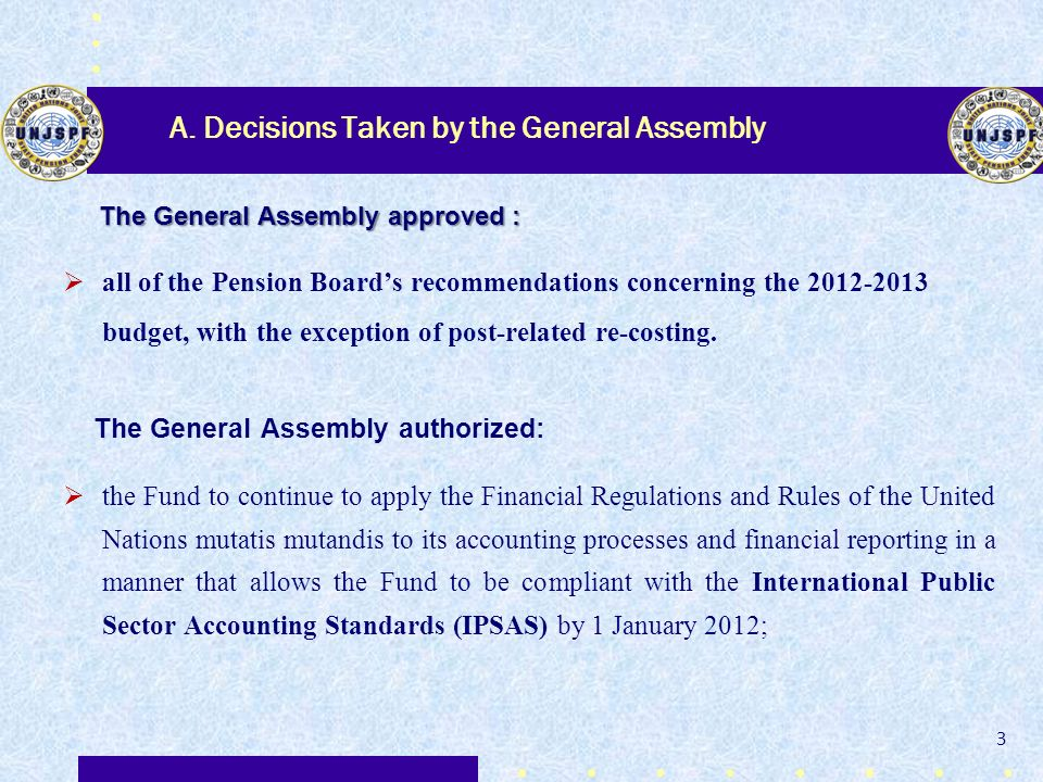 A. Decisions Taken by the General Assembly