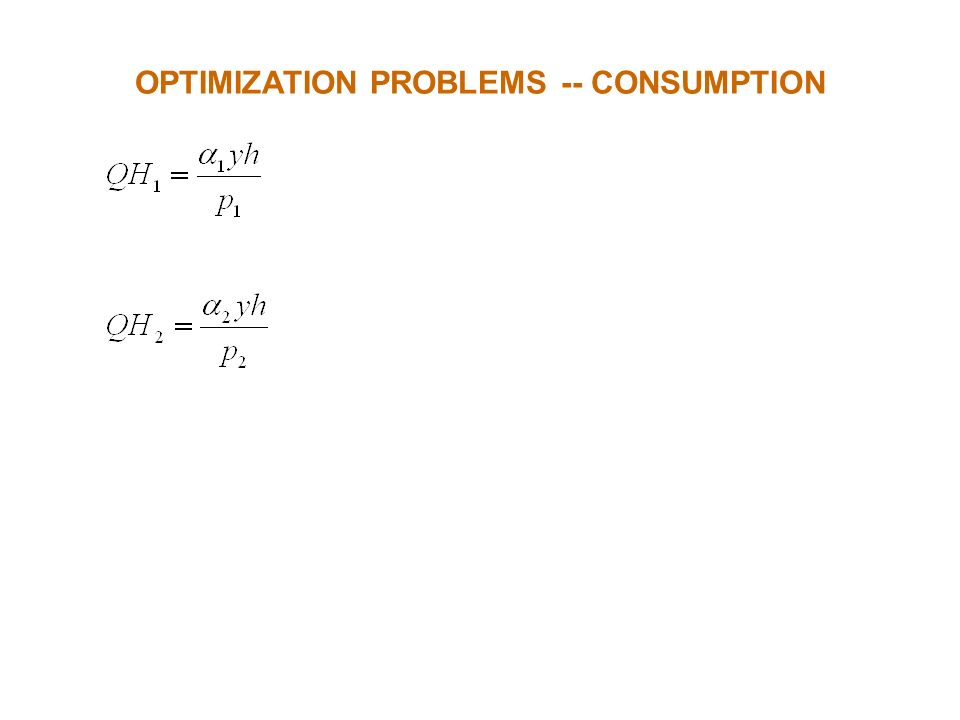 OPTIMIZATION PROBLEMS -- CONSUMPTION