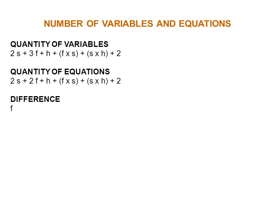NUMBER OF VARIABLES AND EQUATIONS