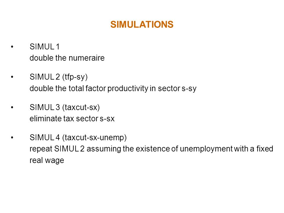 SIMULATIONS SIMUL 1 double the numeraire