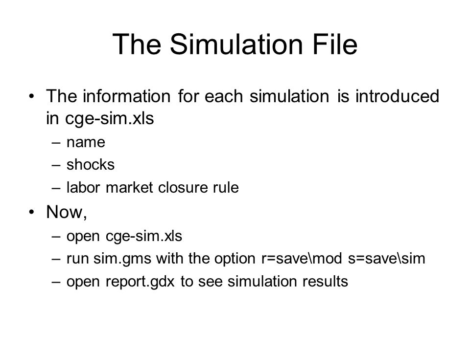 The Simulation File The information for each simulation is introduced in cge-sim.xls. name. shocks.