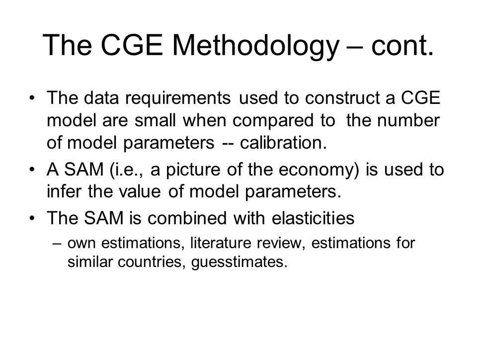 The CGE Methodology – cont.