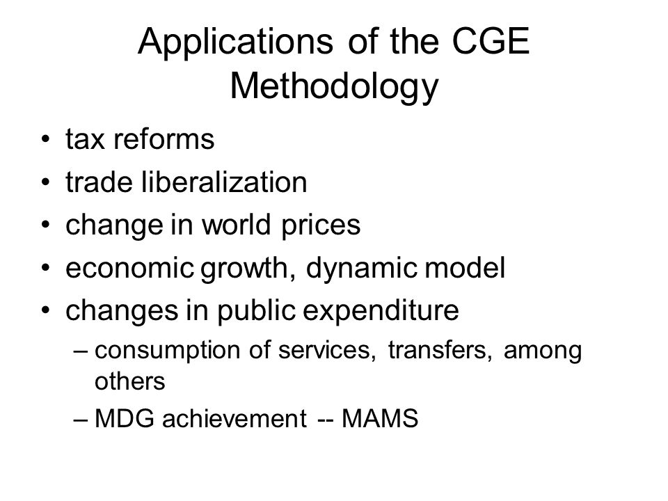 Applications of the CGE Methodology