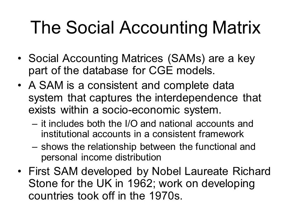 The Social Accounting Matrix