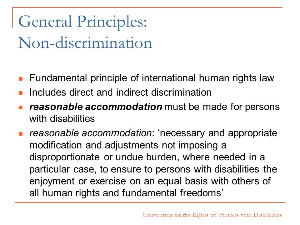 General Principles: Non-discrimination