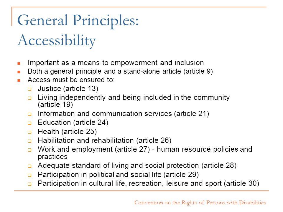 General Principles: Accessibility