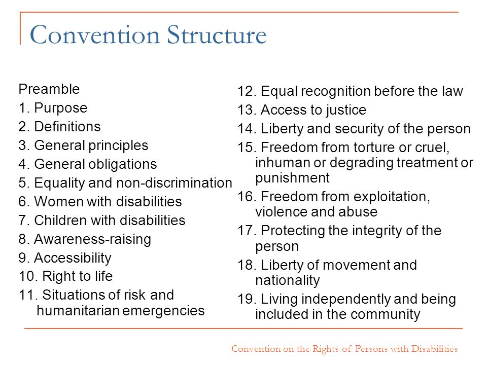 Convention Structure Preamble 12. Equal recognition before the law