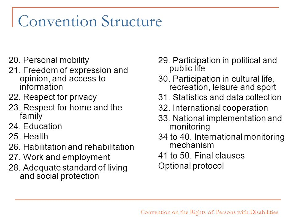 Convention Structure 20. Personal mobility