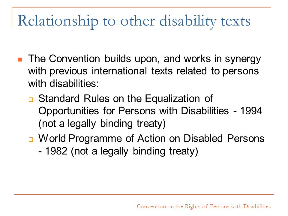 Relationship to other disability texts