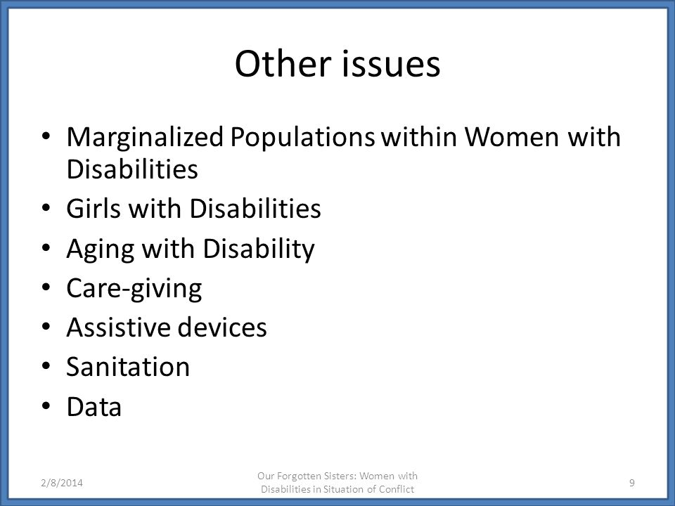Other issues Marginalized Populations within Women with Disabilities