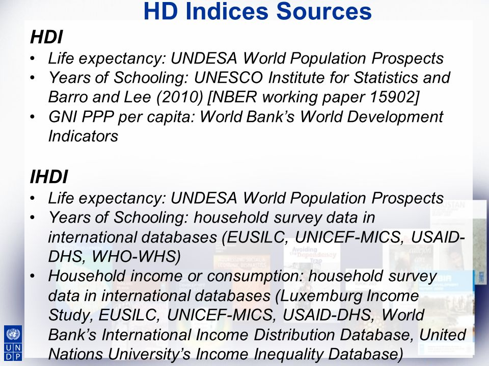 HD Indices Sources HDI IHDI