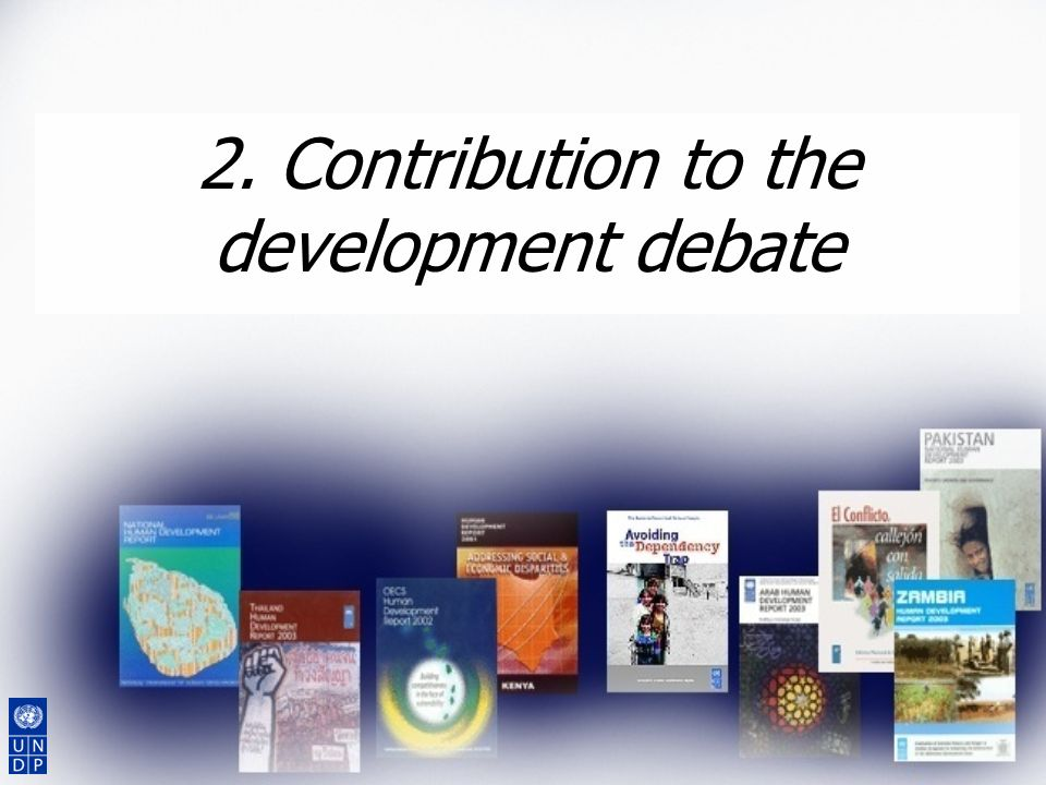 2. Contribution to the development debate