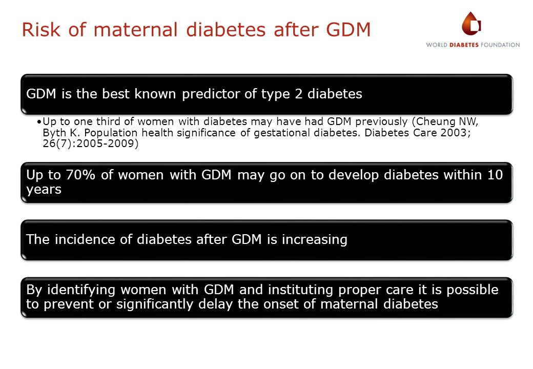 Risk of maternal diabetes after GDM
