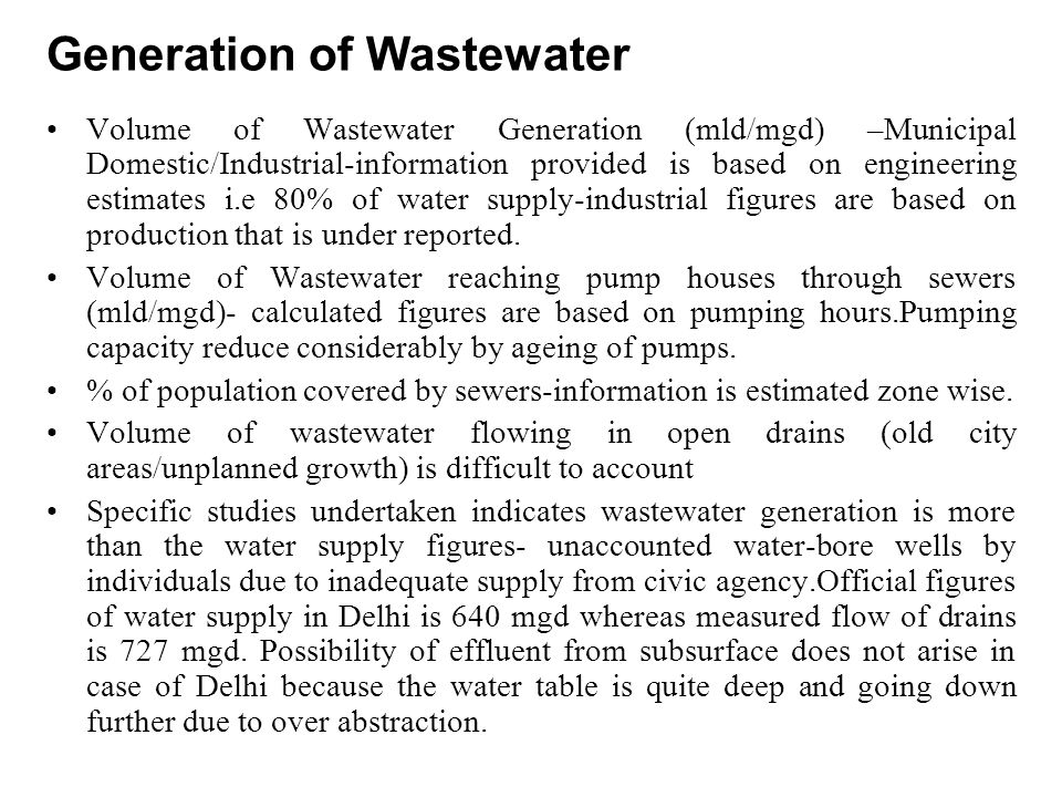 Generation of Wastewater