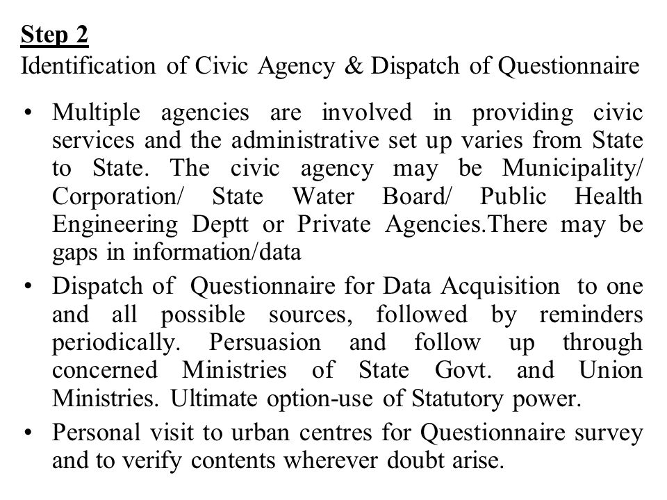 Step 2 Identification of Civic Agency & Dispatch of Questionnaire