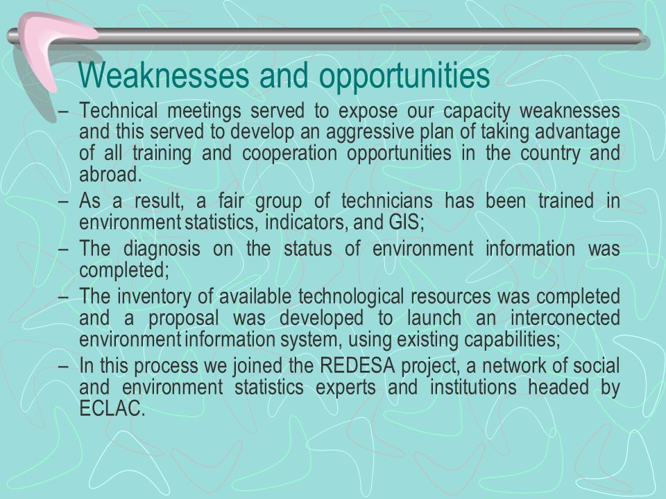 Weaknesses and opportunities