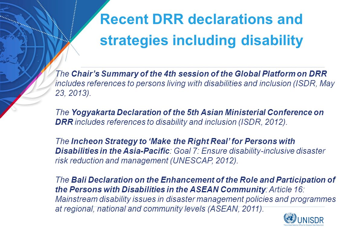 Recent DRR declarations and strategies including disability