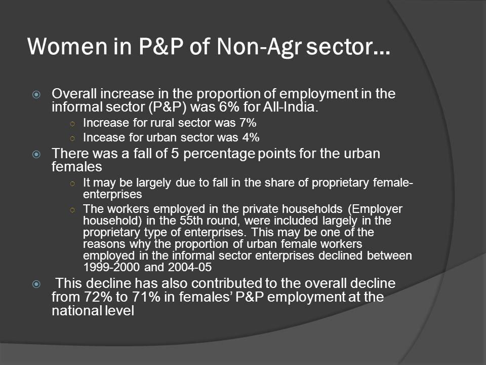 Women in P&P of Non-Agr sector…